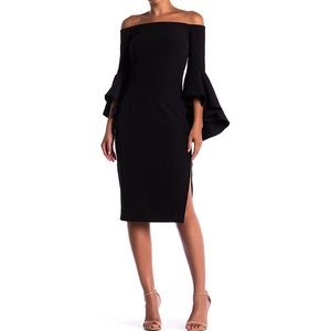MILLY | Off the Shoulder Selena Midi Dress